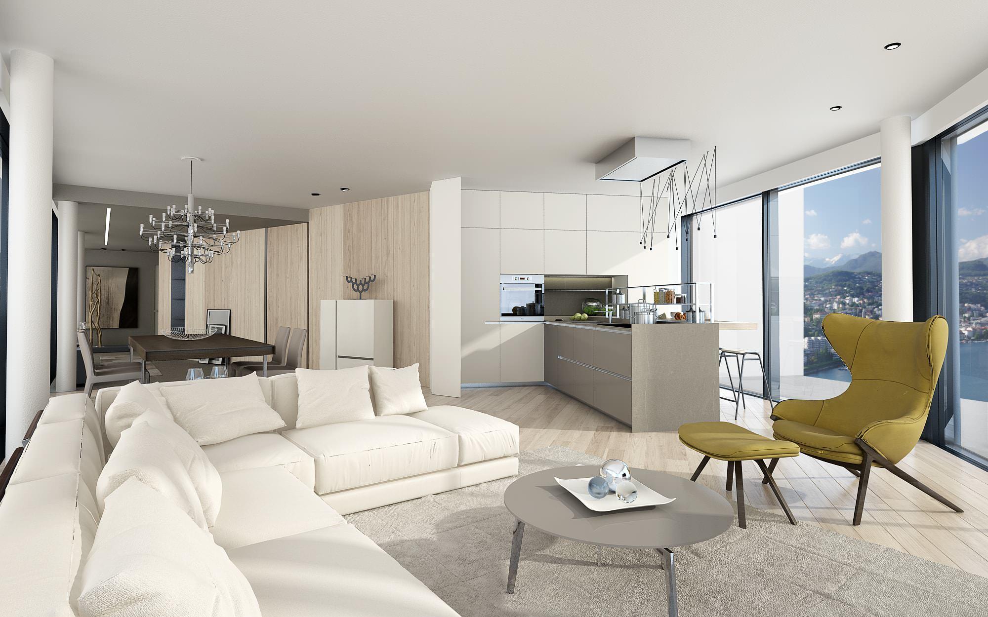 Divani interno attico design Lugano
