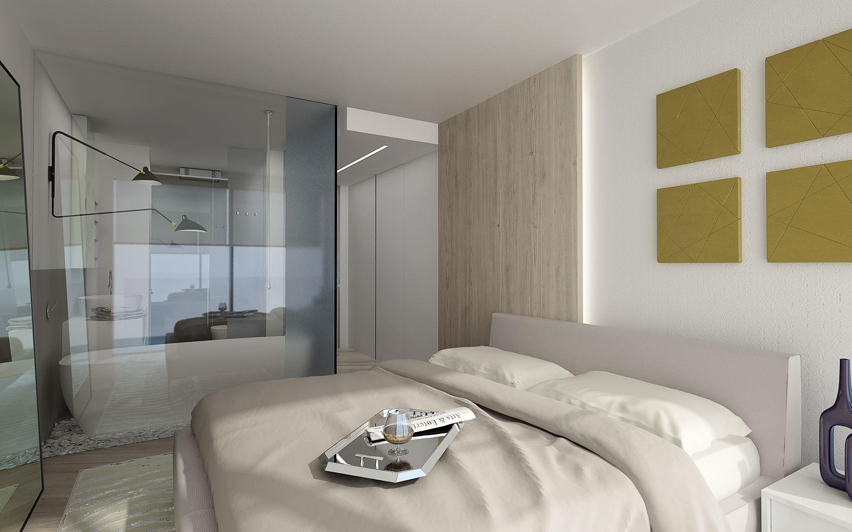 Camera da letto attico lusso Lugano Ticino Svizzera