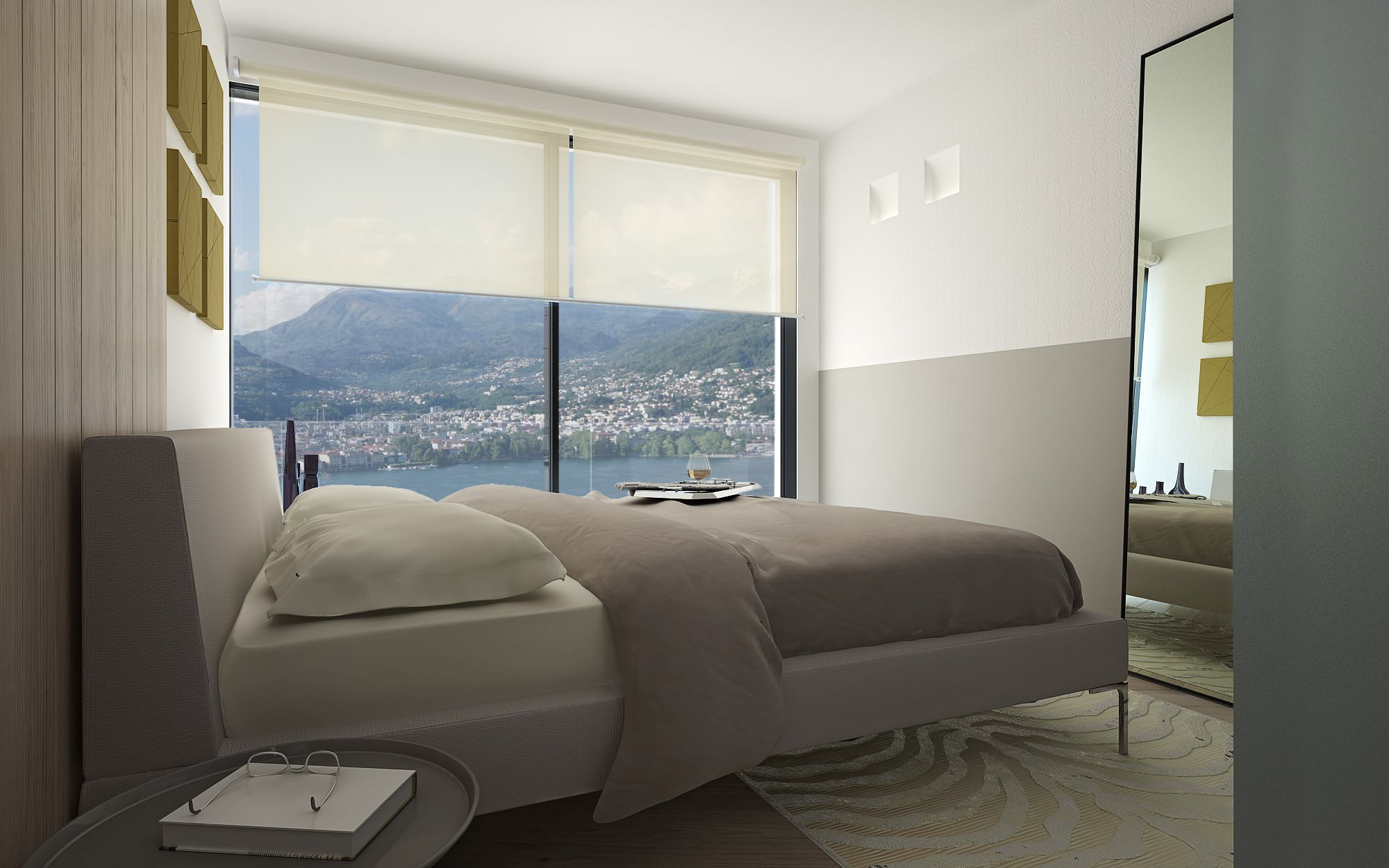 Vista lago Lugano camera letto attico design