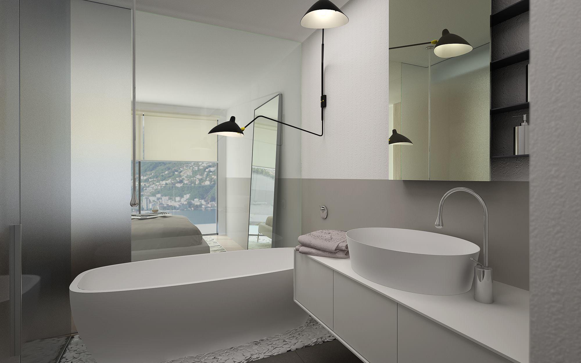 Bagno design attico lusso Lugano Ticino Svizzera