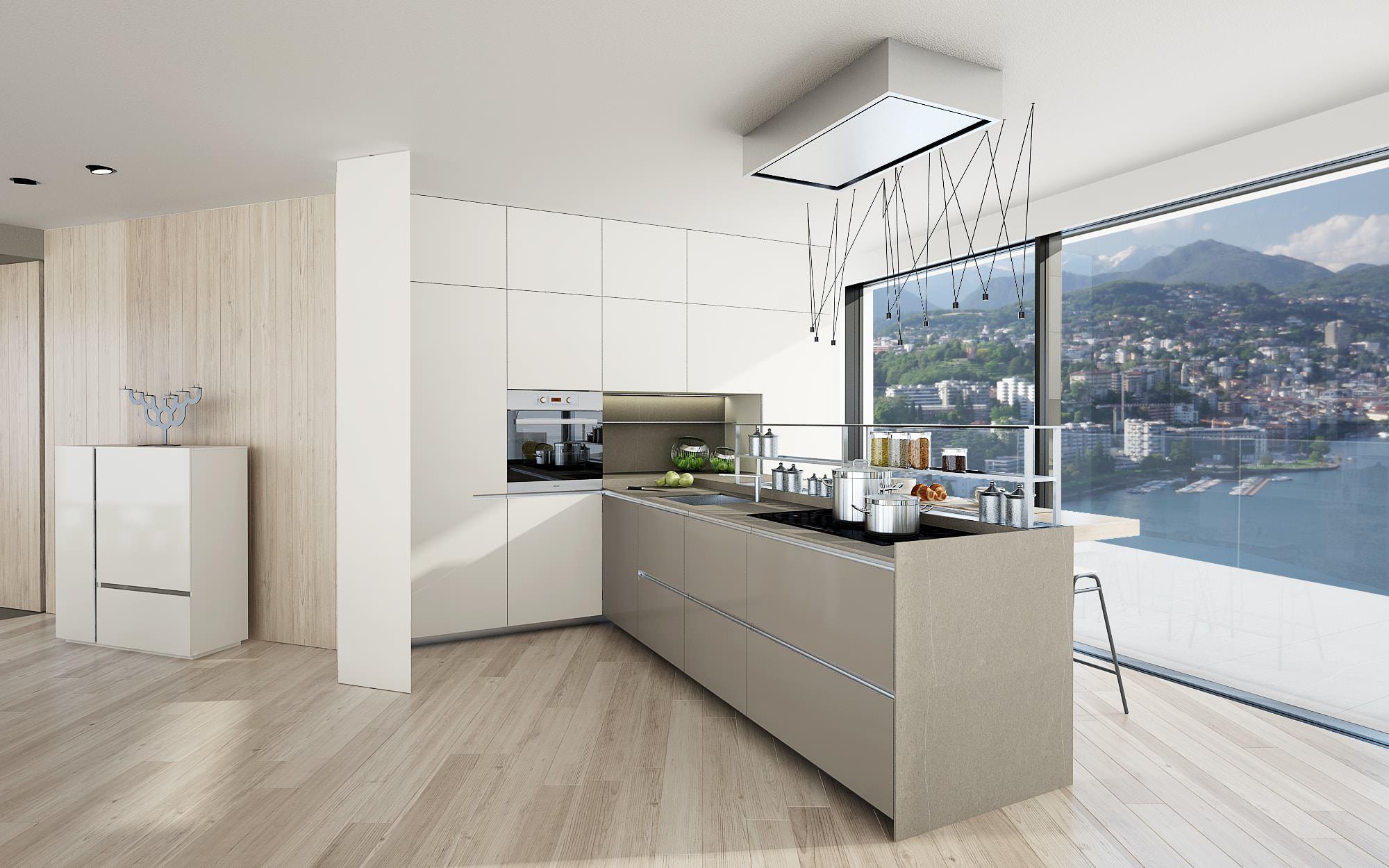 Cucina isola attico design Lugano Ticino Svizzera Nizza Paradise Residence