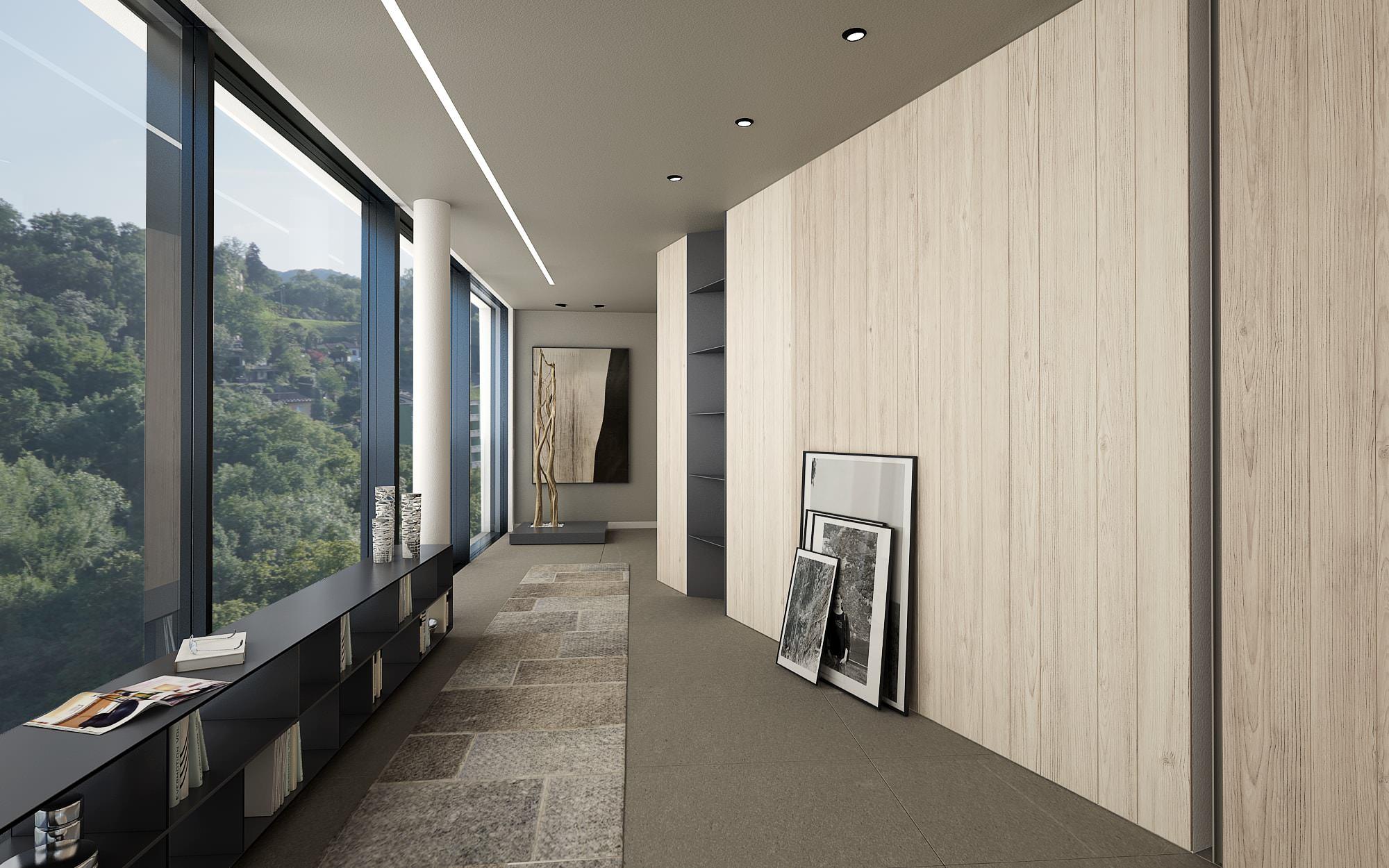 Corridoio attico design Lugano Ticino Svizzera