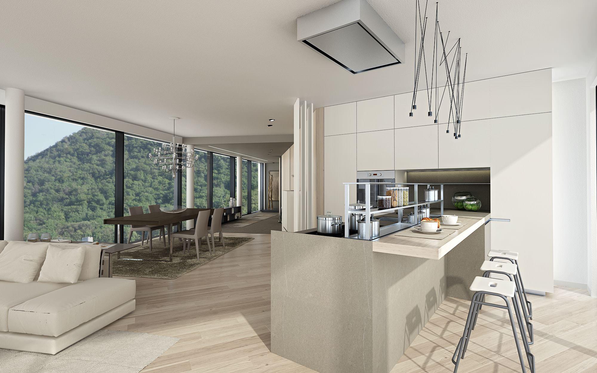 Cucina attico moderno Lugano Ticino Svizzera