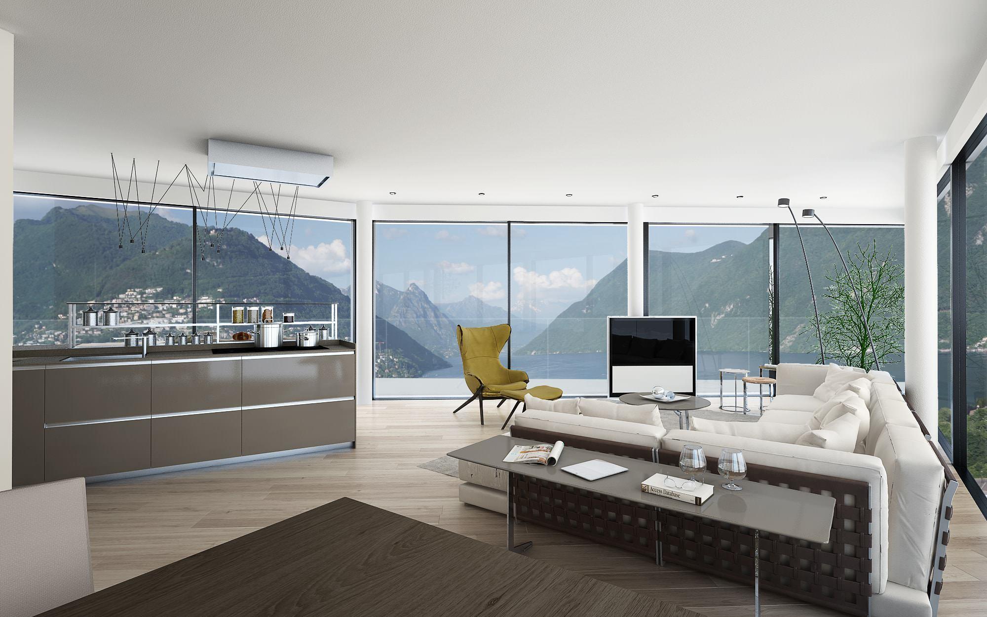 Panorama attico innovativo Lugano Ticino Svizzera