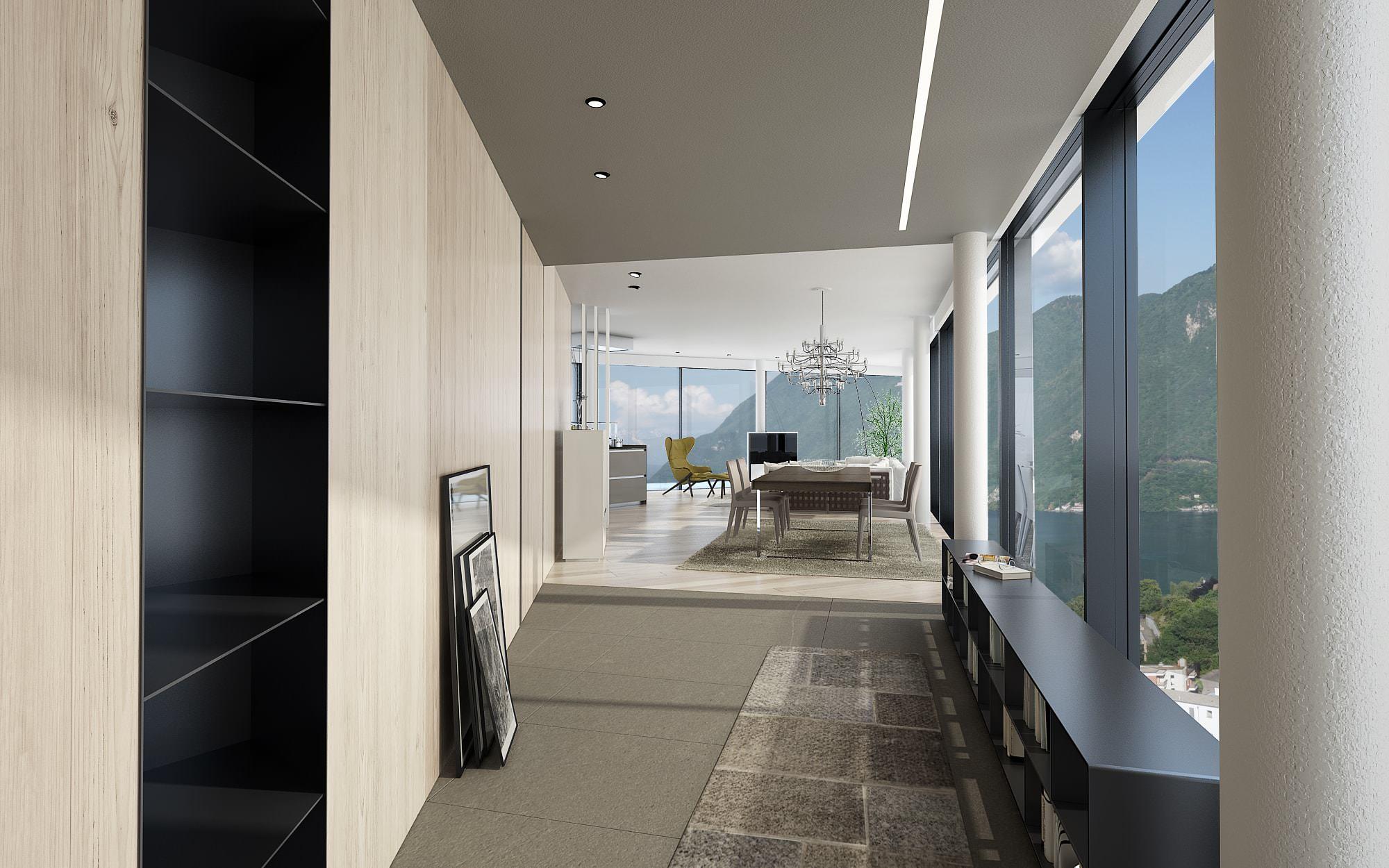 Visuale attico design Lugano Ticino Svizzera