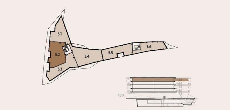 Attico con stile e forme di design Lugano Ticino Svizzera particolare dell'appartamento 5.2 con piantina