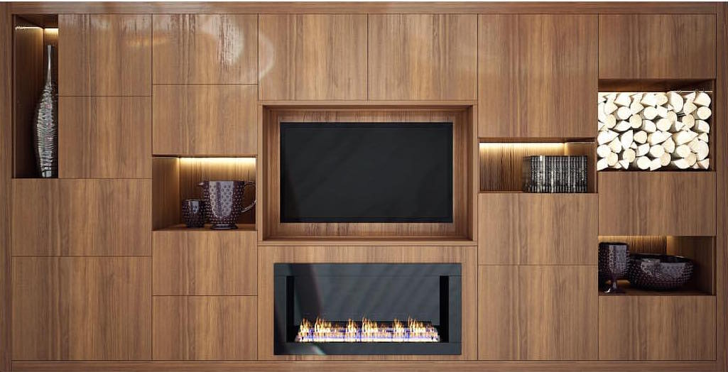 custom cabinets with built in fireplace and tv