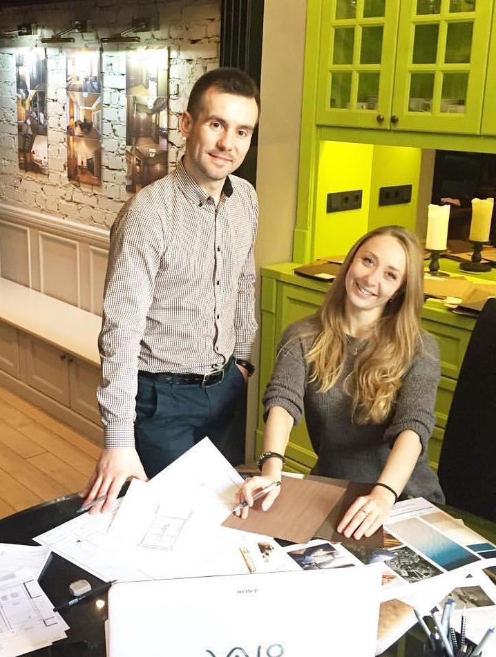 anna kovalchenko working on design of custom furniture with Sergey Kivatytski