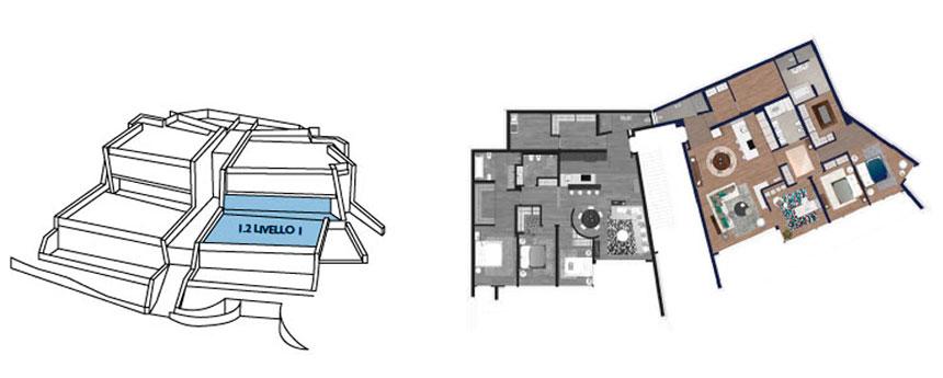appartamento livello 1 numero 2 dettaglio piantina libellula residence
