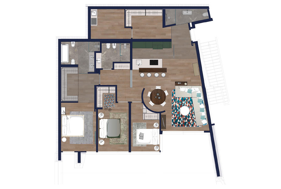 piantina scala appartamento 1.1 muzzano lugano