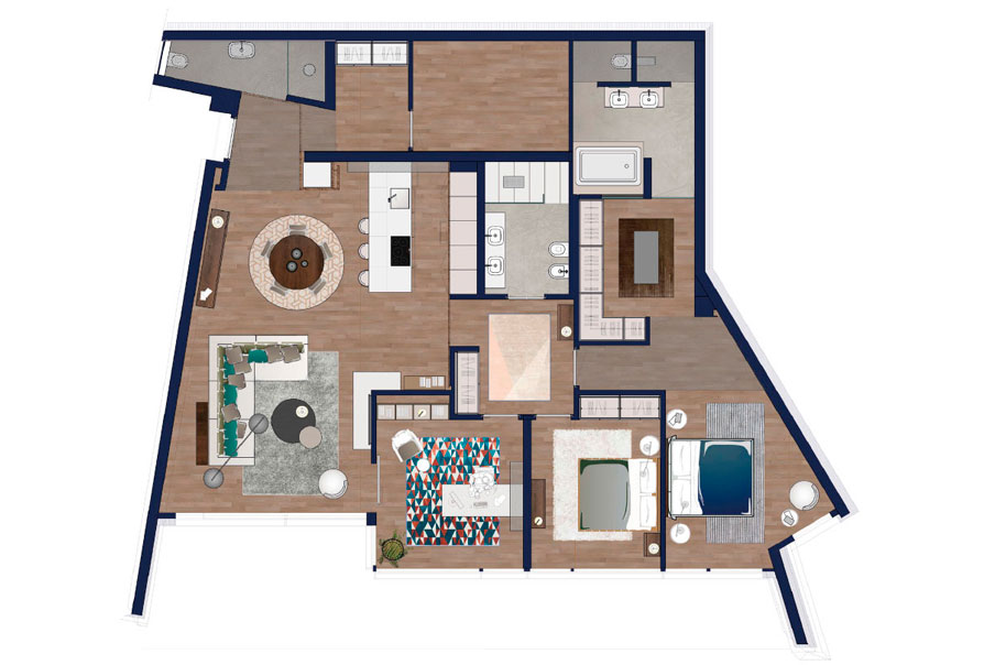 appartamento livello 1 numero 2 dettaglio piantina libellula residence planimetria