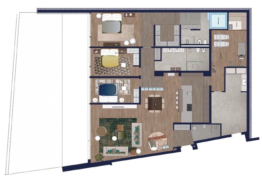appartamenti design muzzano livello 0 appartamento 1 piantina