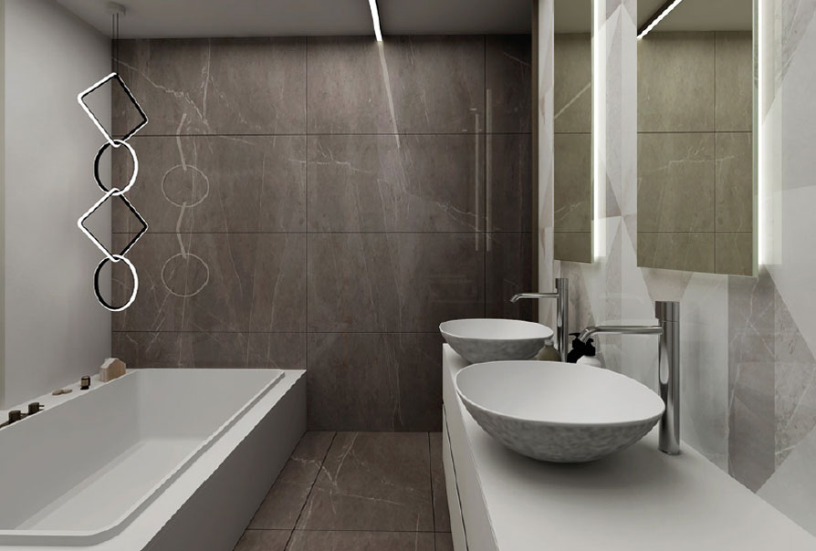 bagno con vasca di design