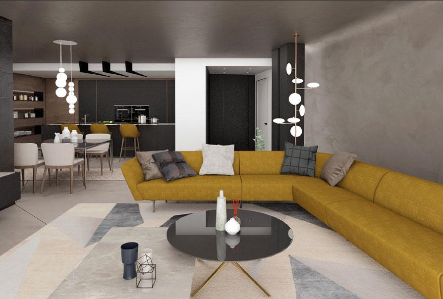appartamenti design muzzano livello 0 appartamento 1 render