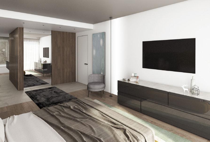 appartamento moderno muzzano stanza con televisore