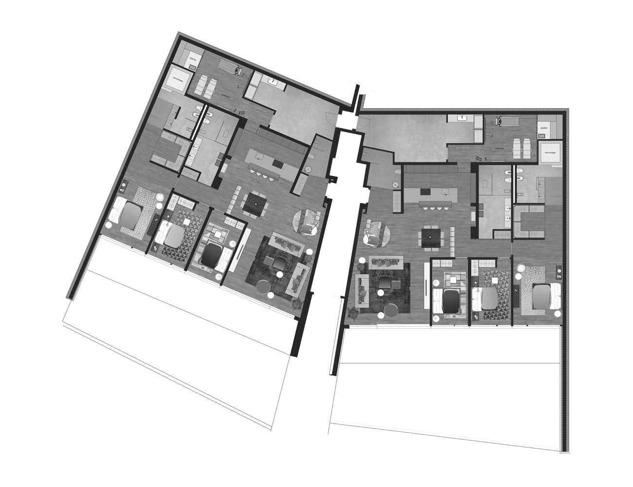 Modern design Muzzano Lugano ground floor plan