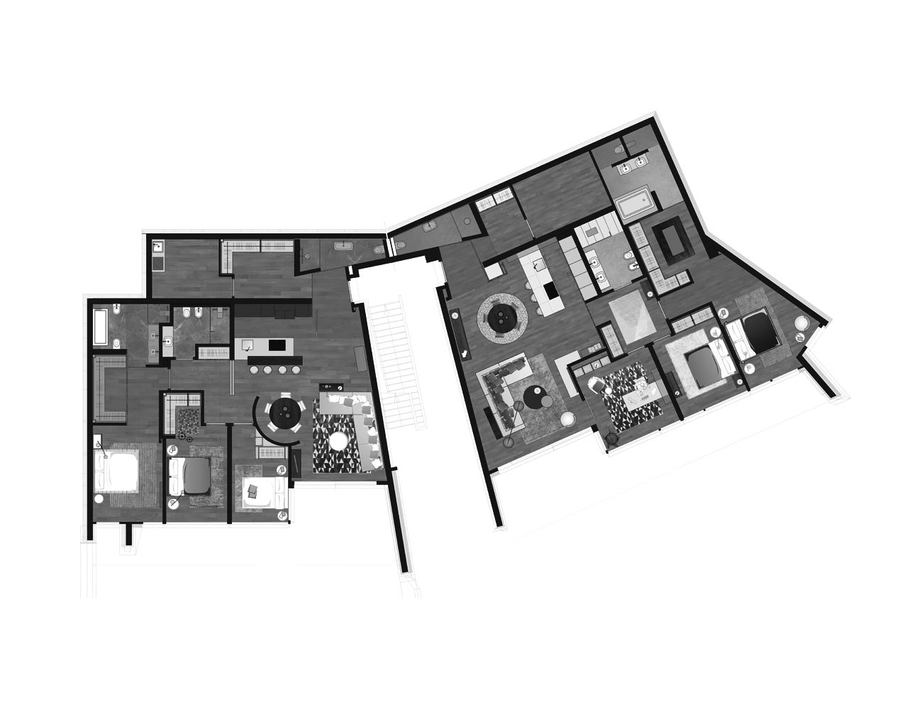 Muzzano Lugano apartments first floor plan