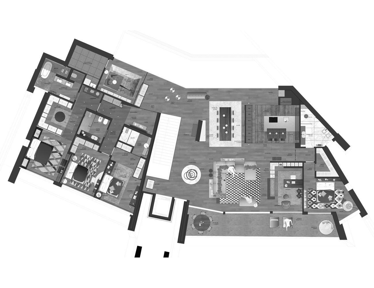 Appartamenti moderni design Lugano Muzzano attico piantina